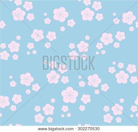 Pastel Colored Seamless Pattern Tile - Nude Pink Sakura Flowers On Light Blue. In Vector - Ideal For