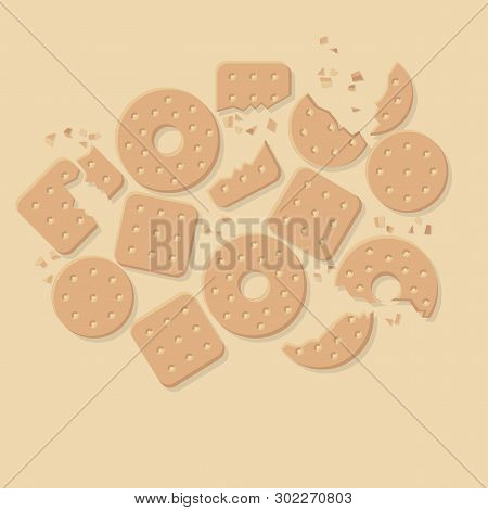 Crunchy Crackers, Cookies Flat Vector Illustration. Hand Drawn Crispy Snacks, Delicious Appetizers.