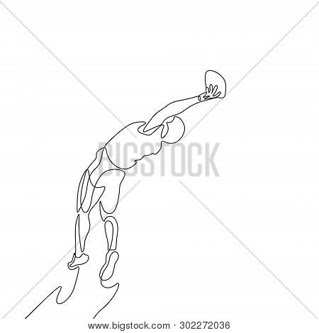 Continuous One Line American Football Player Jump To Catch The Ball