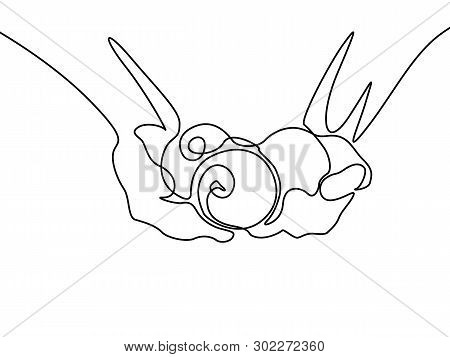Continuous Line Three Apples In Hands. Vector Illustration.