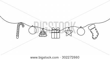 Continuous Line Hanging Candy, Ball, Christmas Tree, Gift Box, Star And Sock. Merry Christmas And Ha