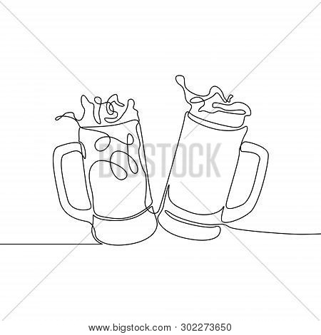 Continuous One Line Drawing Two Glasses Of Bear Clinking. Beer Spray. Vector Illustration.