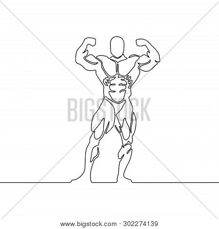 Continuous One Line Bodybuilder Show Biceps.  Vector Illustration.