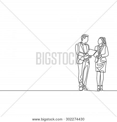 Continuous One Line Businessman And Businesswoman Discuss Work