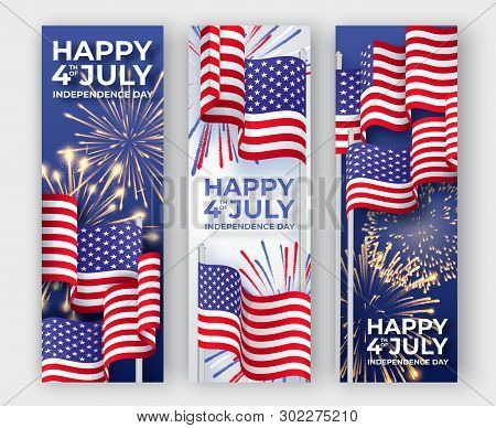 Usa Independence Day. Three Vertical Banners With Waving American National Flags And Fireworks. 4th