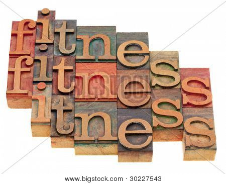 fitness concept - word abstract in vintage wooden letterpress blocks isolated on white poster