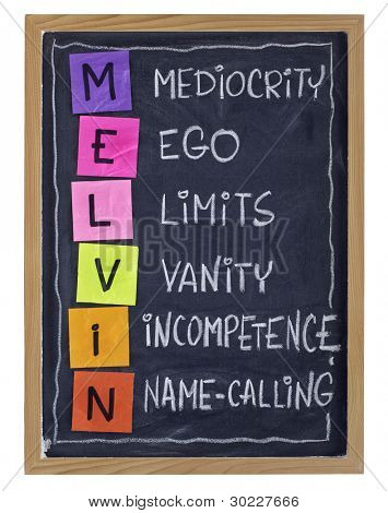 Non-productive aspects of workplace behavior and attitude - MELVIN acronym (Mediocrity, Ego, Limits, Vanity, Incompetence, Name-calling) explained with color sticky notes and white chalk on blackboard