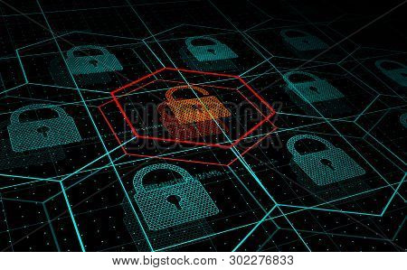 Cyber Attack, System Under Threat, Ddos Attack. Camera Flies Frough Hud Blue Hexagons And Padlocks,