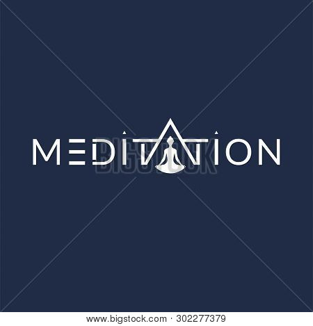 Meditation Pray Sign With Meditating Man Silhouette In Letter A