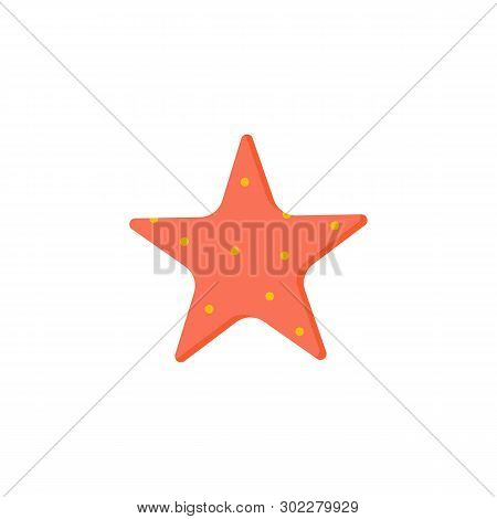 Vector Illustration. Colorful Seastar With Red Points
