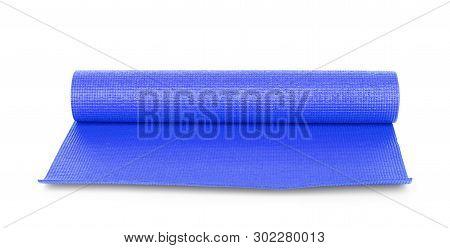 Blue Color Yoga Matt On Background Practice, Mattress, Clipped, Tempo, Gob