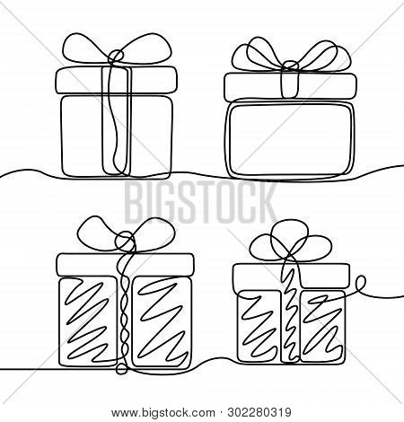 Continuous Line Drawing Set Of Gifts Box . New Year And Happy Christmas Theme.  Vector Illustration.