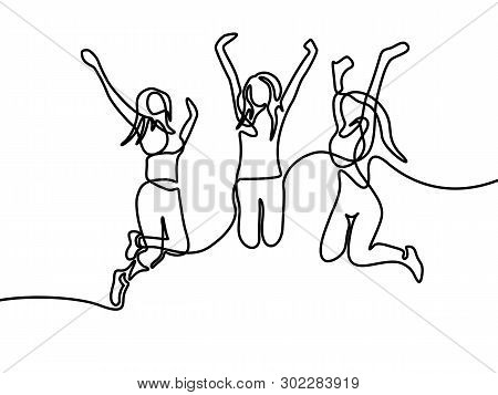Continuous One Line Drawing Group Of Girls Jumping. Vector Illustration.