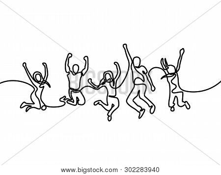 Group Of Girls And Boys Jumping For Happy. Continuous One Line Drawing. Vector Illustration.