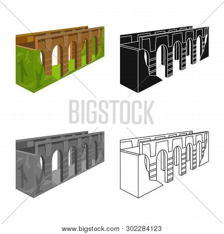 Vector Design Of Bridge And Relocation Symbol. Collection Of Bridge And Column Vector Icon For Stock