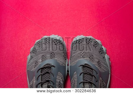 Sport Gray Sneakers Isolated On Purple Background