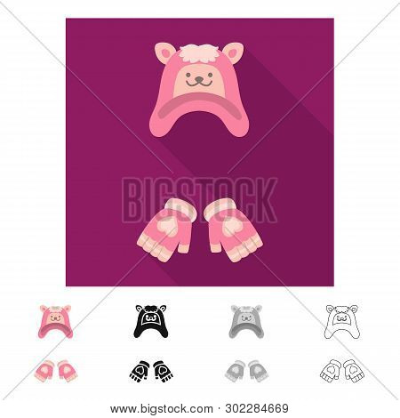 Vector Design Of Hat And Gloves  Icon. Set Of Hat And Pompom Vector Icon For Stock.