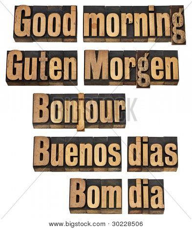 Good morning in five languages - English, German, French, Spanish and Portuguese - a collage of isolated words in vintage letterpress wood type