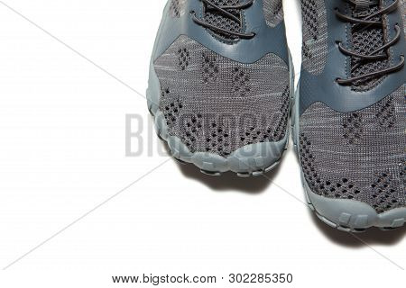 Sport Gray Sneakers Isolated On White Background