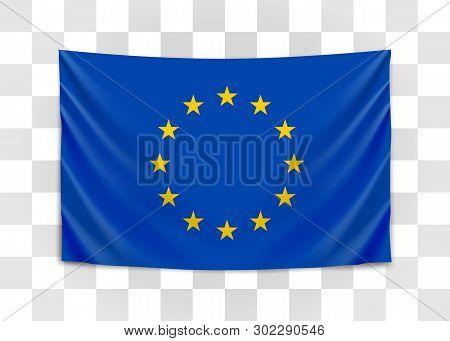 Hanging Flag Of Europe. European Union. European Flag Concept.