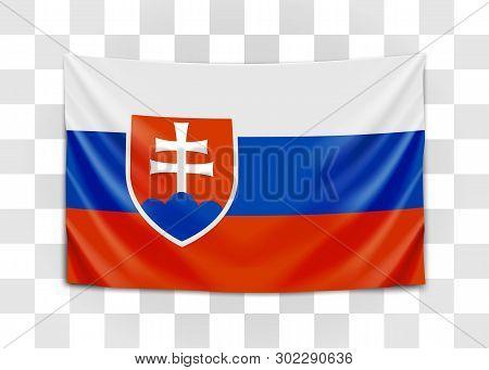 Hanging Flag Of Slovakia. Slovak Republic. National Flag Concept.