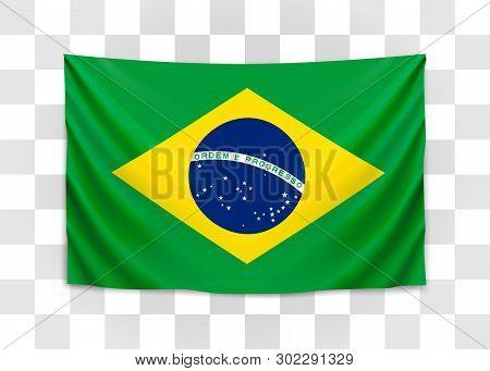 Hanging Flag Of Brazil. Federative Republic Of Brazil. Brazilian National Flag Concept.