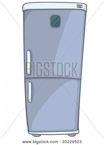 Cartoon Home Kitchen Refrigerator Isolated on White Background. Vector.