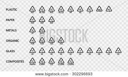 Set Of Recycling Codes Arrow Icons For Plastic, Paper, Metal, Organic, Glass And Composites Material