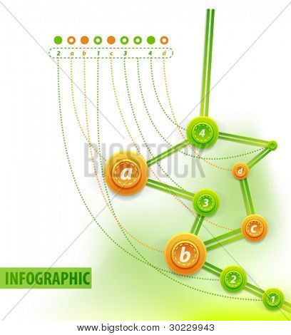 Visual art of infographics. Info charts - route or chronological tree with points and creative descriptions for each point. Clean style