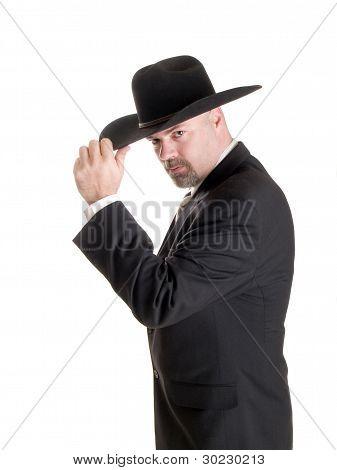 Cowboyhut Geschäftsmann Kippzylinder