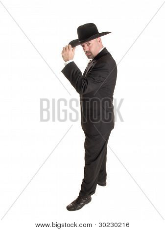 Cowboy Businessman Tipping Hat