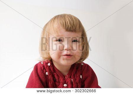 Talking Little Girl Smiling Happy. Cute Caucasian Baby