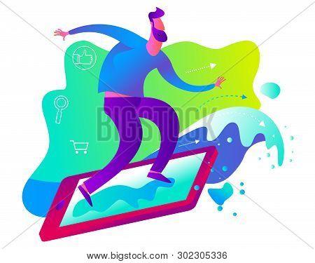 Cartoon Character Illustration For Web Design, Presentation, Infographic, Landing Page: It, Internet