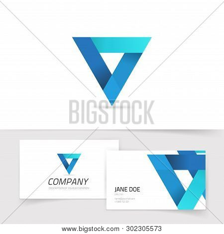 Triangle Abstract Vector Logo, Blue Gradient Prism Logotype Isolated, Modern Trendy Geometry Symbol