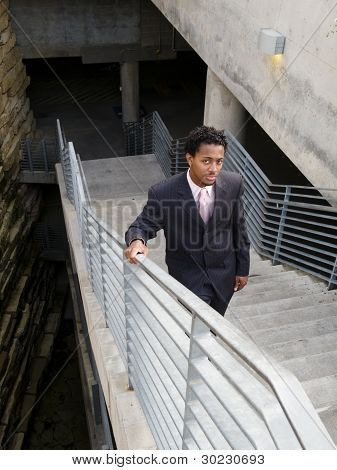 Serious Businessman On Stairs