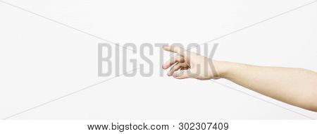 Woman's Hand, White Background, Natural, Young, Man Arm Isolated On White Background. Hand Is Reach