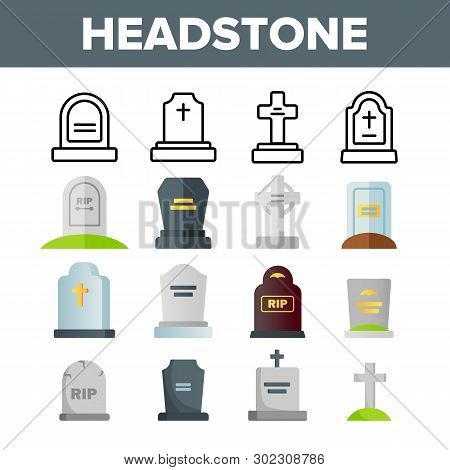 Headstone, Gravestone, Tombstone Vector Color Icons Set. Headstone, Granite Grave, Cross Linear Symbols Pack. Christian Burial Tradition. Cemetery, Graveyard Isolated Flat Illustrations poster