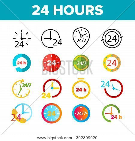 24 Hours, Clock, Time Vector Color Icons Set. 24 Hours Customer Service, Online Support Linear Symbo