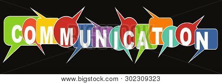 Communication Banner With Multicolored Speech Bubbles On Black Background