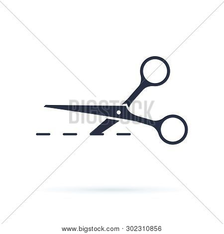 Scissors Icon Vector Illustration. Scissors Icon Vector Illustration. Cut Concept With Open Scissors