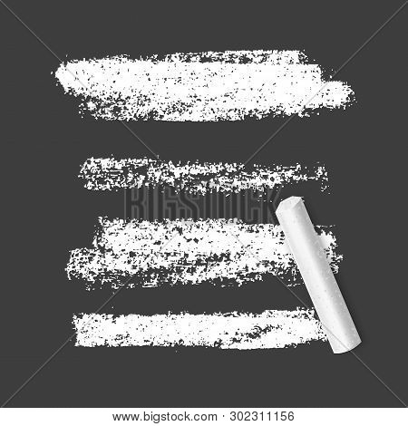 Set Of Chalk Brushes Of White Color On Dark Background. Grunge Lines With Chalk Texture. Hand Drawn