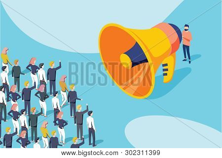 Isometric Vector Of A Businessman Or Politician With Megaphone Making An Announcement To A Crowd Of