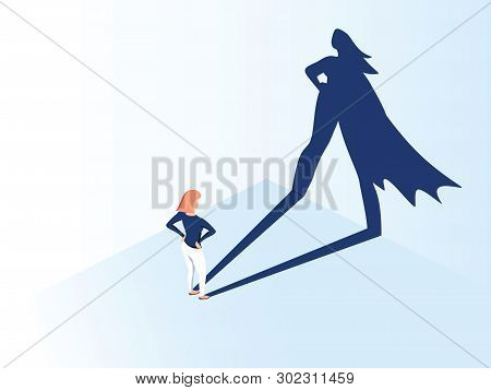 Business Woman With Big Shadow Superhero. Super Manager Leader In Business. Concept Of Success, Qual