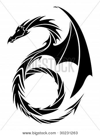 Vector Tattoo Styled Dragon
