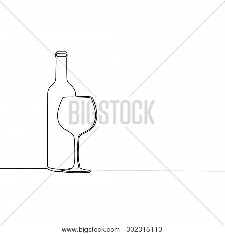 Continuous Line Winebottle With Wineglass. Vector Illustration.