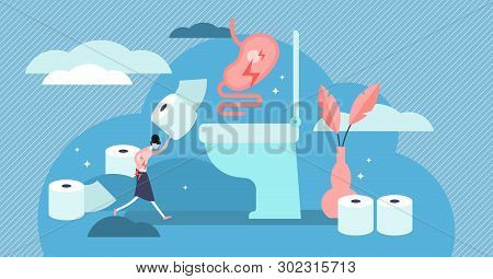 Diarrhea Vector Illustration. Flat Tiny Stomach Problems Persons Concept. Abstract Infection Adornme
