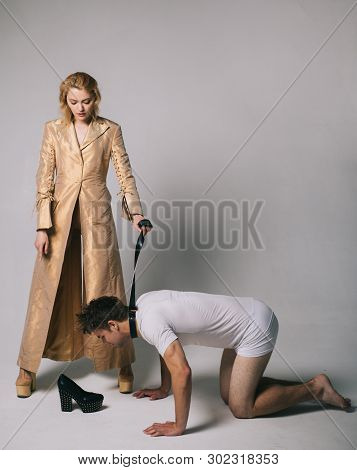 Who Is Boss Here. Woman And Man Playing Domination Games. Love Relations And Dominating. Concept Of