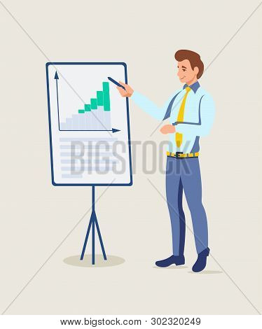 Business Coach Presentation Vector Illustration. Sales Pitch. Effective Business Plan. Market Analyt
