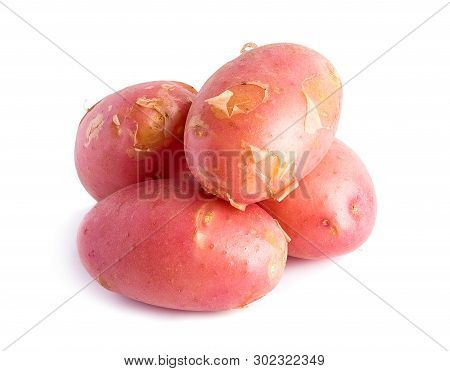 Fresh Harvest Of Red Potatoes On White Background
