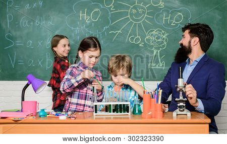 Science Is Always The Solution. Observe Reaction. School Chemistry Experiment. Fascinating Chemistry